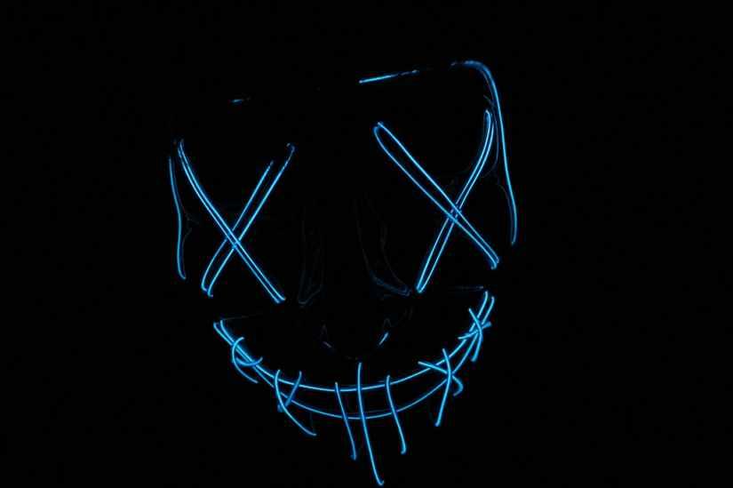 blue light skull signage